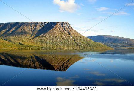he Taimyr Peninsula. Putorana Plateau. View from a bird's eye view of Lake Kutaramakan.