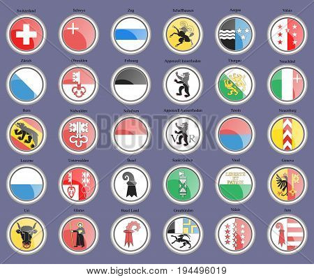 Set of icons. Cantons of Switzerland Flags.