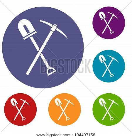 Shovel and pickaxe icons set in flat circle reb, blue and green color for web