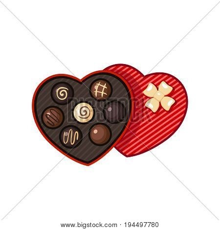 Heart shaped valentine day candy box with chocolate bon-bons.  Vector illustration flat icon isolated on white.