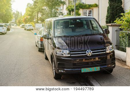 STRASBOURG FRANCE - MAY 30 2017: Volkswagen van view from the fron parked on French street. Volkswagen shortened to VW is a German automaker founded on 4 January 1937 by the German Labour Front and headquartered in Wolfsburg.
