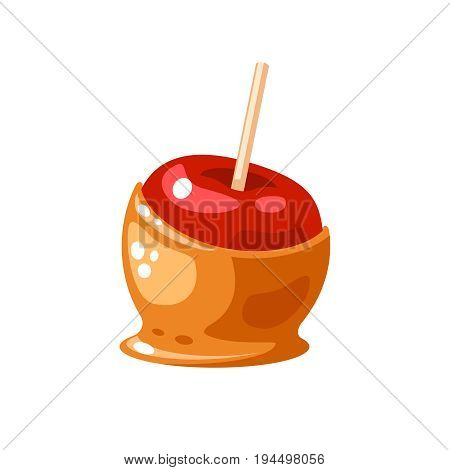Candy apple coated by sweet caramel. Vector illustration flat icon isolated on white.
