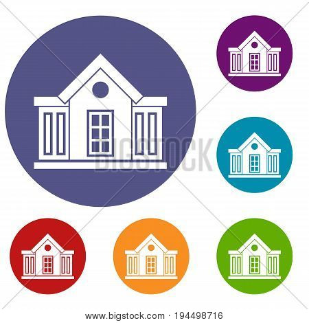 Mansion icons set in flat circle reb, blue and green color for web
