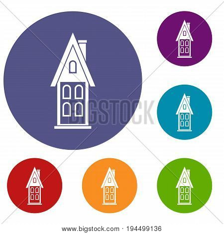 Two storey house with attic icons set in flat circle reb, blue and green color for web