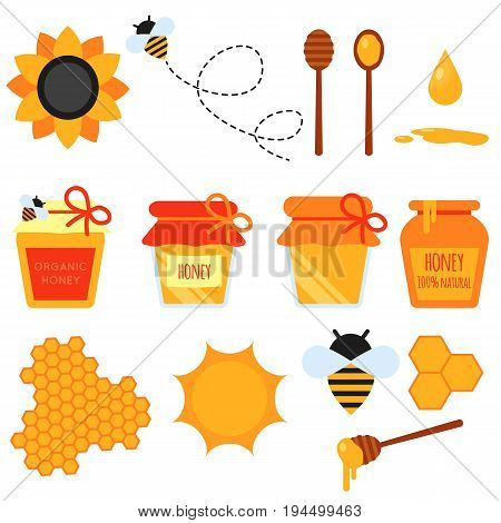 Set of honey flat design elements. Vector flat illustration of bee-keeping element. Honey jar, flying bee, honeycom, sunflower, pot, dipper stick. Easy to scale and recolor. Eps10