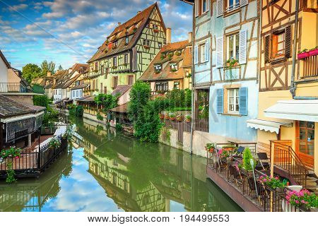 Stunning colorful traditional french houses on the side of river Lauch in Petite Venise Colmar France Europe