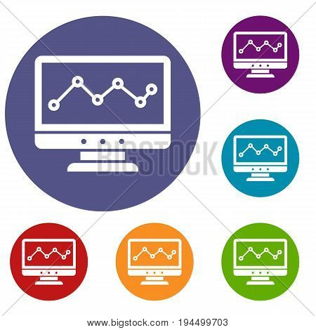 Graph in computer screen icons set in flat circle reb, blue and green color for web