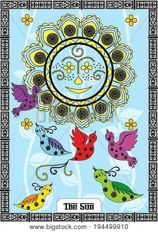 the illustration - card for tarot - the sun.