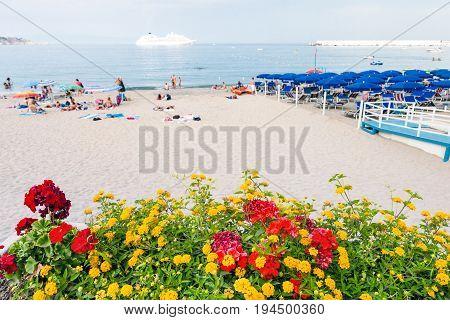 Flowerbed On Urban Beach In Giardini Naxos