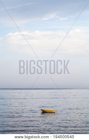 One Yellow Boat In Ionian Sea Near Giardini Naxos