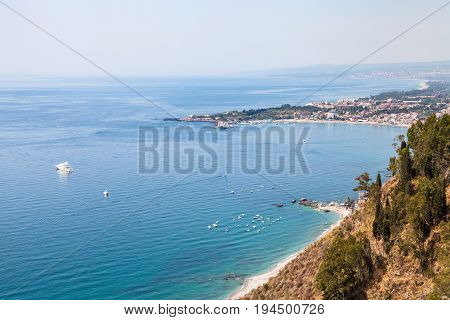 View Of Ionic Sea From Piazza 9 Aprile In Taormina