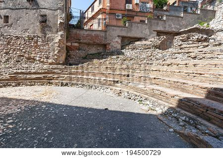 View Of Ancient Roman Theater Odeon In Taormina