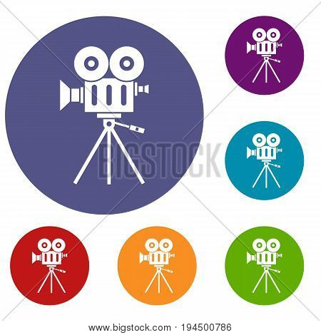Camcorder icons set in flat circle reb, blue and green color for web