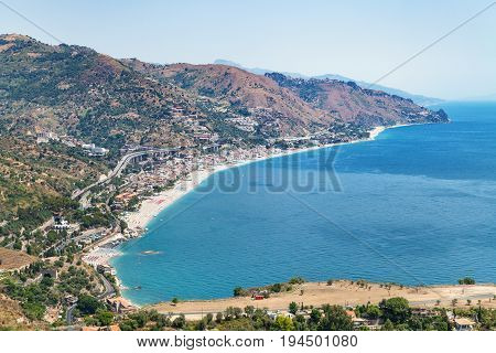 Above View Of Letojanni Resort Town From Taormina