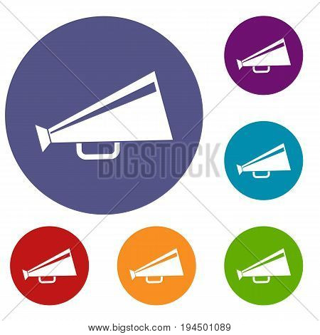 Mouthpiece icons set in flat circle reb, blue and green color for web