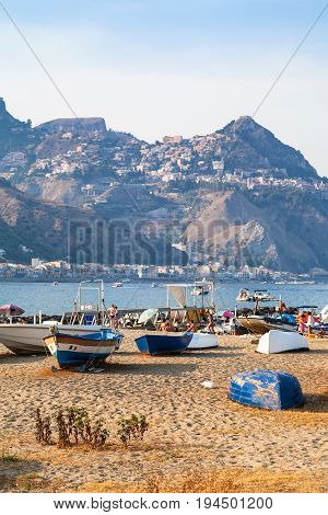 Boats On Beach In Old Port In Giardini Naxos Town