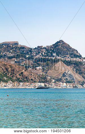 Taormina City On Cape And In Giardini Naxos Town