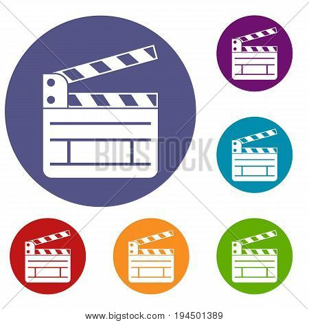 Clapperboard icons set in flat circle reb, blue and green color for web