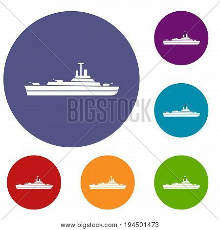 Warship icons set in flat circle reb, blue and green color for web