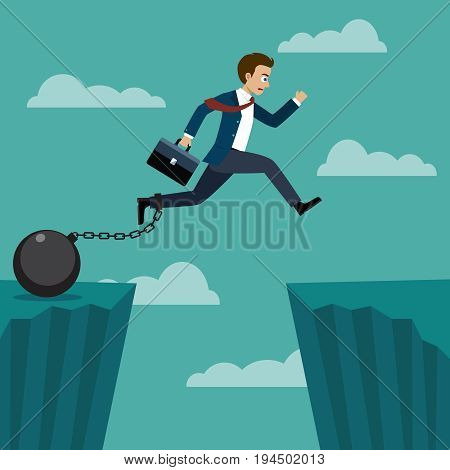 Businessman jumped over a cliff, but there is a chain tied to his legs with a pendulum.
