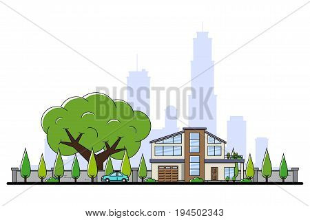picture of modern private residential house with car, trees and big sity silhouette on background, real estate and construction industry concept, flat line art style illustration