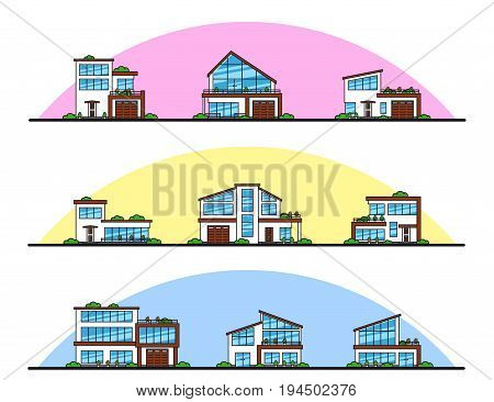 Set of urban and suburban modern style residential houses, thin line icons. Real estate and construction concept.