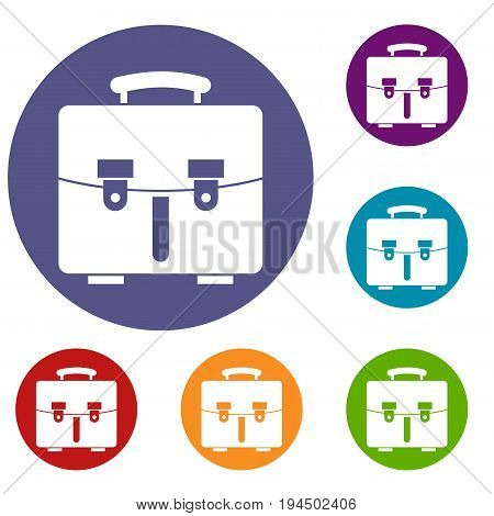 Diplomat bag icons set in flat circle reb, blue and green color for web