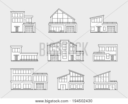 set of house icons isolated on gray background, thin line style illustration