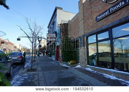 PETOSKEY, MICHIGAN / UNITED STATES - NOVEMBER 22, 2016: Mighty Fine Pizza offers delivery and take-out from its store on Mitchell Street in downtown Petoskey.