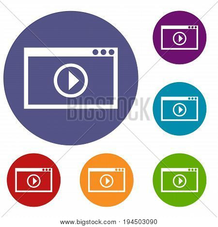 Program for video playback icons set in flat circle reb, blue and green color for web