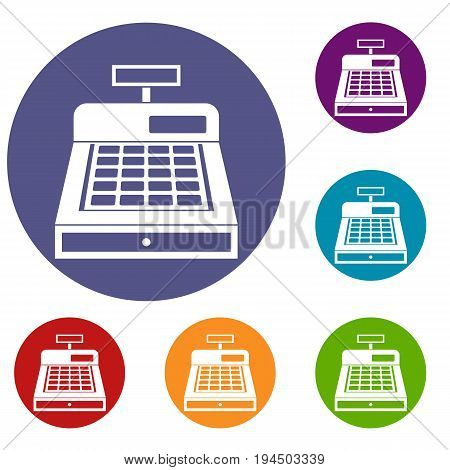 Cash register icons set in flat circle reb, blue and green color for web