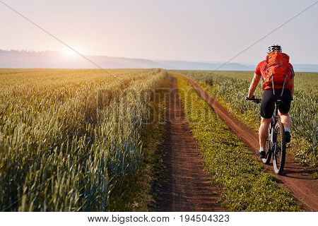 Rear view of the young cyclist riding mountainbike on the beautiful summer trail on the field. Sportsman dressed in the sportwear, with helmet, red backpack and sportive shoes. Beautiful landscapelike a background. Concept of the healthy lifestyle.