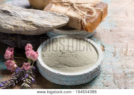 Nature cosmetics handmade preparation with essential oils and ancient minerals of creams soaps skincare masks scrubs from fresh and dried lavender and roses flowers green clay powder