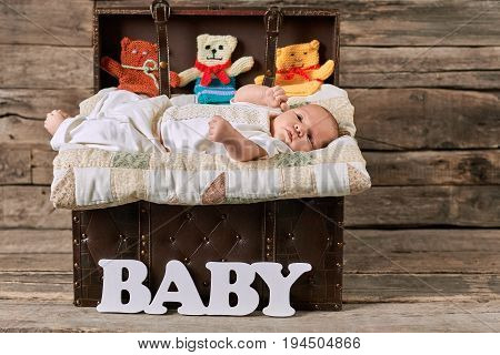 Suitcase with baby, wood background. Knitted toy animals. Are you ready for parenthood.