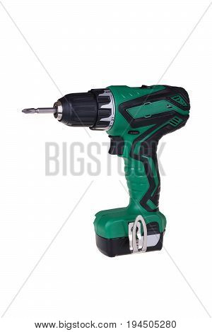Cordless screwdriver drill isolated on white background with clipping path.