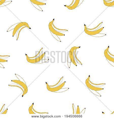 Banana peel seamless pattern. Banana background. Vector illustration