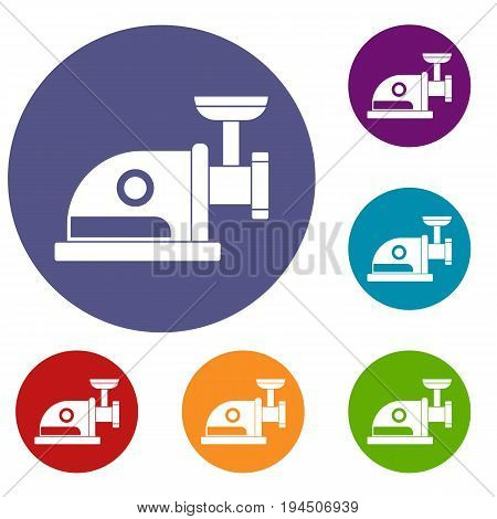 Electric grinder icons set in flat circle reb, blue and green color for web