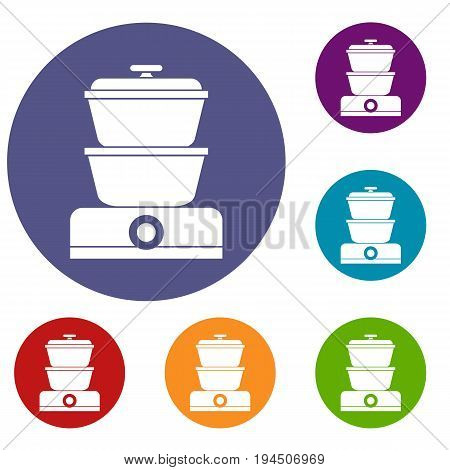 Steamer icons set in flat circle reb, blue and green color for web