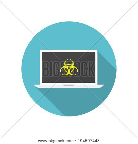 Computer virus protection concept. Biohazard symbol on the screen