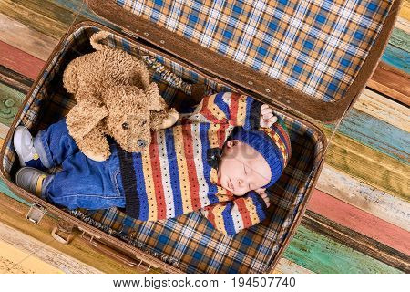 Sleeping baby, soft toy dog. Suitcase with child, wooden background. The tired traveller.