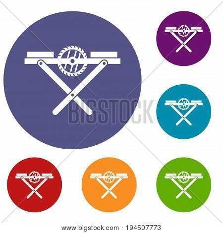 Power saw bench icons set in flat circle reb, blue and green color for web