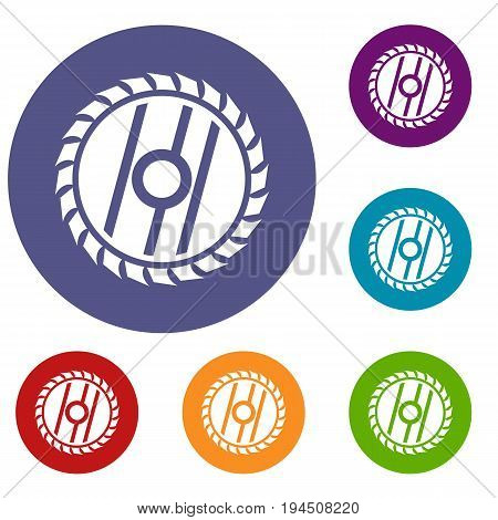 Circular saw blade icons set in flat circle reb, blue and green color for web