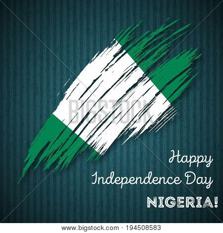 Nigeria Independence Day Patriotic Design. Expressive Brush Stroke In National Flag Colors On Dark S