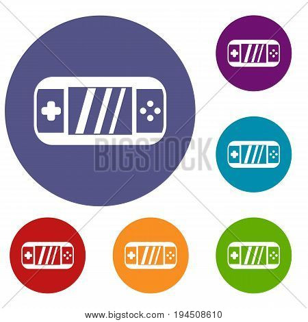 Portable video game console icons set in flat circle reb, blue and green color for web