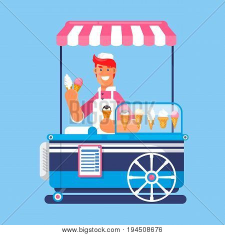 Trolley with ice cream. Ice cream cart market. Flat vector illustration