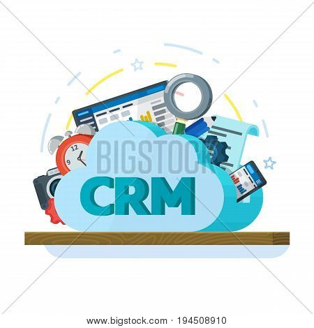 Cloud computing services banner in flat style. Networking communication and data icons. Data provision and cloud computing services. Online CRM Software. Data protection, security. Raster image