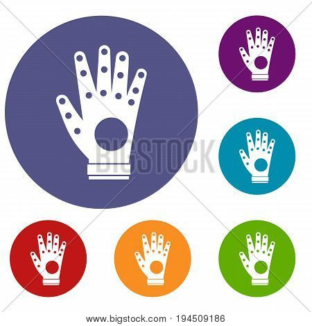 Electronic glove icons set in flat circle reb, blue and green color for web
