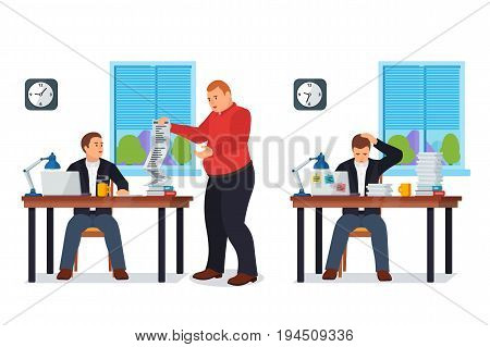Hard Working man in office banner in flat style. Boss gives many requests to your manager. New job stress work info graphic. Stress on work. Business situation. More paperwork Raster image