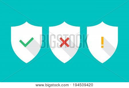 Vector shield icons. Tick, cross and exclamation mark icons