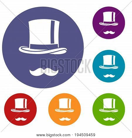 Cylinder and moustaches icons set in flat circle reb, blue and green color for web